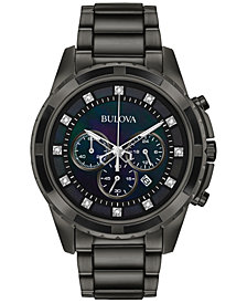 Bulova Men's Chronograph Diamond Accent Dark Gray Stainless Steel Bracelet Watch 44mm 98D133, Created for Macy's
