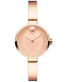 Movado Women's Swiss Edge Rose Gold-Tone Ion-Plated Stainless Steel Bangle Bracelet Watch 28mm 3680022