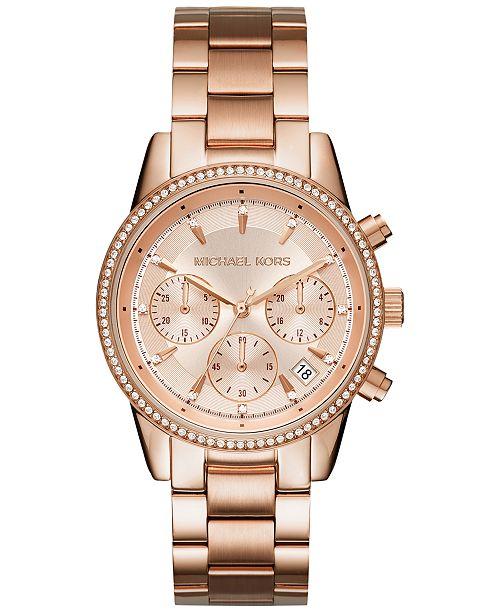 806da8675b10 ... Michael Kors Women s Chronograph Ritz Stainless Steel Bracelet Watch  37mm MK6428 MK6357 MK6356 ...