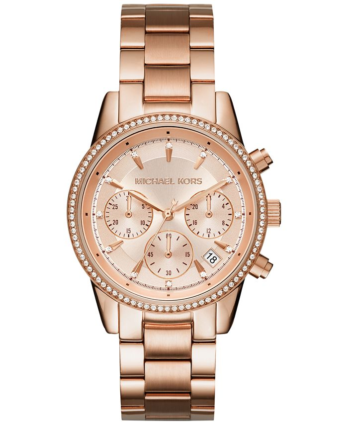 Michael Kors - Women's Chronograph Ritz Stainless Steel Bracelet Watch 37mm MK6428/MK6357/MK6356
