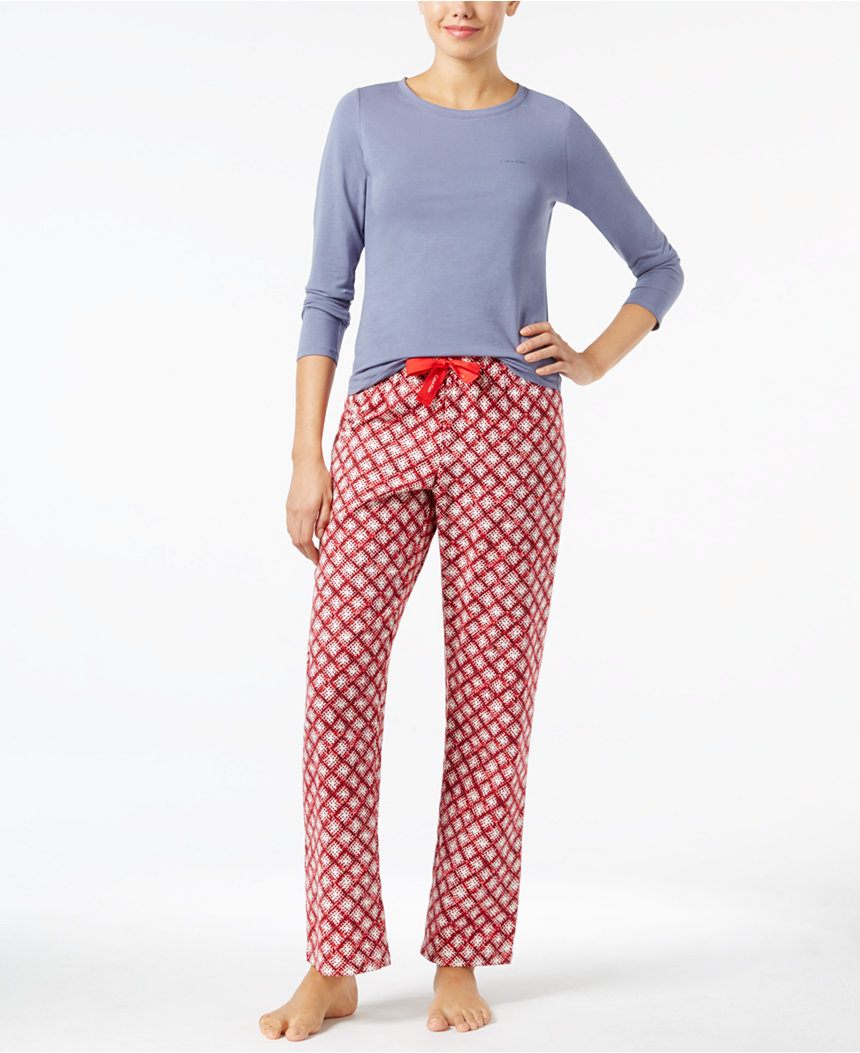 Two Calvin Klein Knit Top and Flannel Pajama Pants Set
