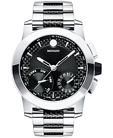 Movado Men's Swiss Chronograph Vizio Stainless Steel and Black Carbon Fiber Bracelet Watch 45mm 0607030