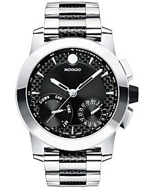 Movado Men's Swiss Chronograph Vizio Stainless Steel and Black Carbon Fiber Bracelet Watch 45mm 0607030