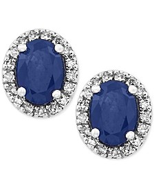 Royale Bleu by EFFY® Sapphire (1-1/8 ct. t.w.) Diamond (1/8 ct. t.w.) Stud Earrings in 14k White Gold