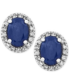 Royale Bleu by EFFY® Sapphire (1-1/8 ct. t.w.) Diamond (1/8 ct. t.w.) Stud Earrings in 14k White Gold