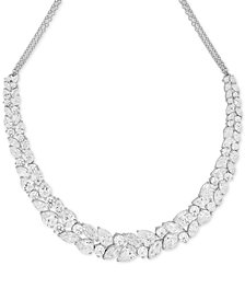 Arabella Swarovski Cubic Zirconia Cluster Statement Necklace in Sterling Silver