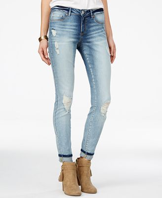 Jessica Simpson Ripped Acid Wash Straight-Leg Jeans - Juniors ...