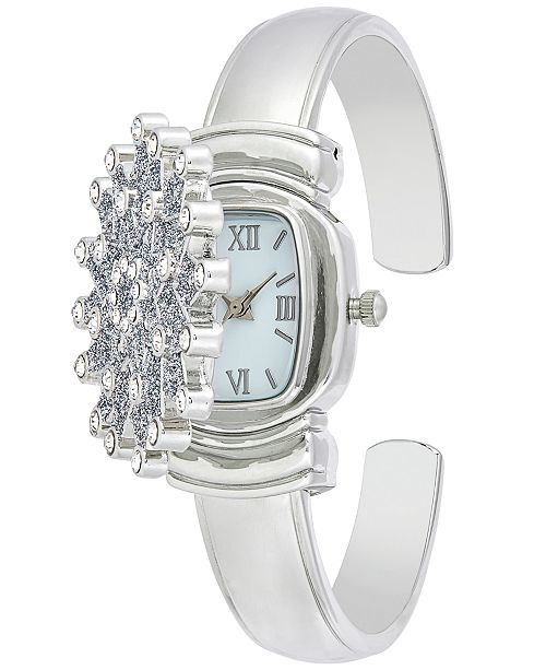 2394b71cc Charter Club Women's Silver-Tone Snowflake Cuff Bracelet Watch 29mm,  Created for Macy's ...