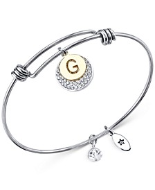 Pave and Initial Disc Bangle Bracelet in Stainless Steel and Silver Plated
