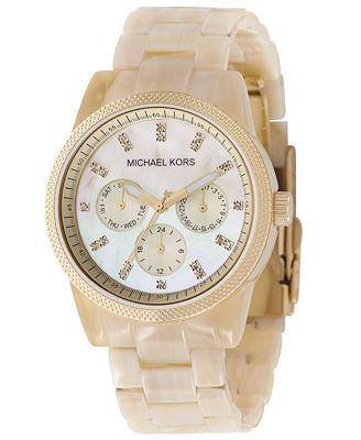 Michael Kors Women's Chronograph Ritz Resin Horn Bracelet Watch 36mm MK5039