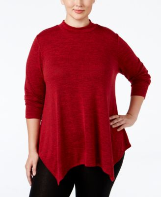 Style & Co. Plus Size Mélange Mock-Neck Top, Only at Macy's
