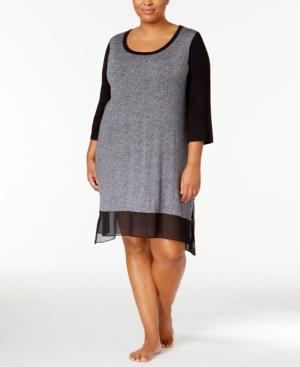 Dkny Plus Size Urban Essentials Colorblocked Sleepshirt