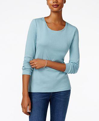 Charter Club Pima Cotton Long-Sleeve Top - Tops - Women - Macy's