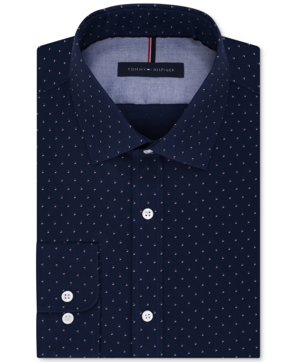 Tommy Hilfiger Men's Slim-Fit Non-Iron Navy Print Dress Shirt