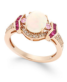 Opal (1 ct. t.w.), Ruby (1/3 ct. t.w.), Diamond (1/5 ct. t.w.) and Pink Sapphire (1/10 ct. t.w.) Ring in 14k Rose Gold