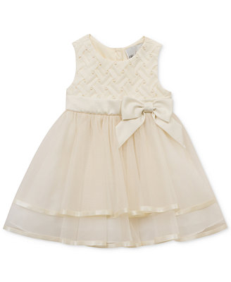 Rare Editions Embellished Basket Weave & Mesh Dress Baby