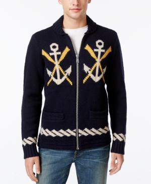 Men's Vintage Style Sweaters – 1920s to 1960s Tommy Hilfiger Mens Naval-Themed Zip-Front Cardigan $29.99 AT vintagedancer.com