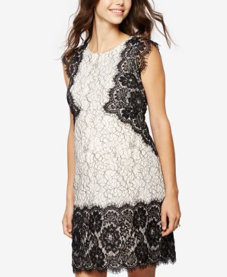 A Pea In The Pod Maternity Cap-Sleeve Lace Dress