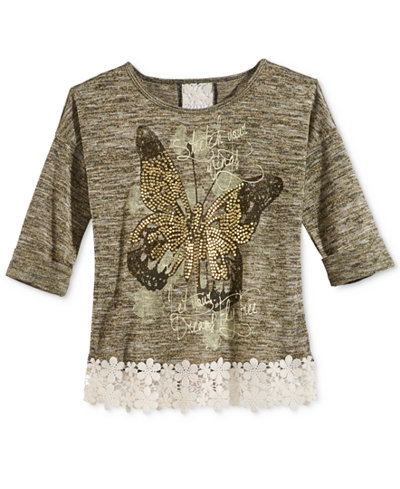 Beautees Lace-Detail Graphic-Print Top, Big Girls (7-16)