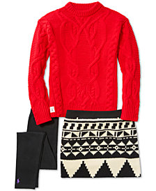 Ralph Lauren Cable-Knit Sweater, Fleece Skirt & Stretch Leggings, Little Girls (4-6X), & Big Girls (7-16)