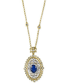 EFFY® Royalé  Bleu Sapphire (1-3/8 ct. t.w.) and Diamond (2/3 ct. t.w.) Pendant Necklace in 14k Gold, Created for Macy's and White Gold, Created for Macy's