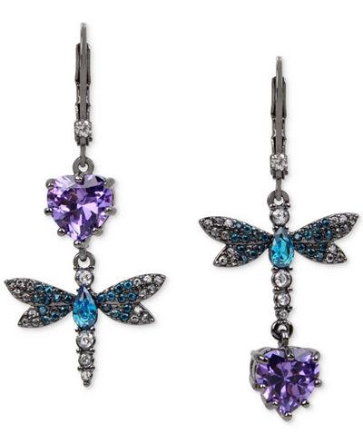 Betsey Johnson Hematite-Tone Purple and Blue Stone Dragonfly Mismatch Earrings