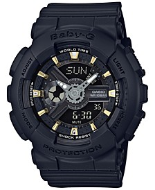 Women's Analog-Digital Black Resin Strap Watch 43x46mm BA110GA-1A