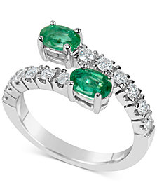 Emerald (1 ct. t.w.) and Diamond (1/2 ct. t.w.) Bypass Ring in 14k White Gold