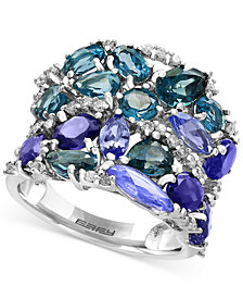 EFFY® Blue Topaz (3-1/10 ct. t.w.), Iolite (2-1/2 ct. t.w.) and Tanzanite (2-1/10 ct. t.w.) Ring in 14k White Gold