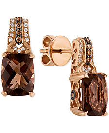 Le Vian Chocolatier® Smoky Quartz (3-3/8 ct. t.w.) and Diamond (1/6 ct. t.w.) Drop Earrings in 14k Rose Gold