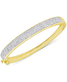 Diamond Pave Hinged Bangle Bracelet (1 ct. t.w.) in Sterling Silver or 18k Yellow or Rose Gold over Sterling Silver