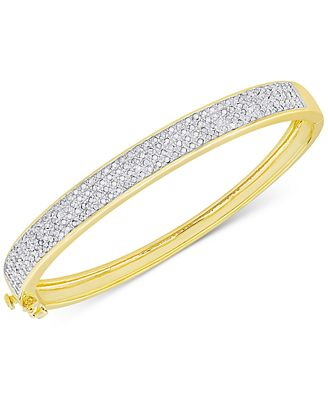 Diamond Pave Hinged Bangle Bracelet 1 ct t w in Sterling