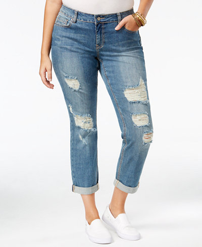 Standards and Practices Trendy Plus Size Ripped Badlove Wash ...