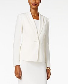 Kasper Petite Crepe One-Button Jacket