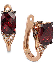 Le Vian® Raspberry Rhodolite® Garnet (1-7/8 ct. t.w.) and Diamond (1/10 ct. t.w.) Earrings in 14k Rose Gold