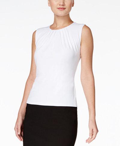 Calvin Klein Sleeveless Pleated Top, Regular & Petite - Wear to ...