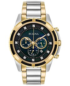 Bulova Men's Chronograph Diamond Accent Two-Tone Stainless Steel Bracelet Watch 44mm 98D132