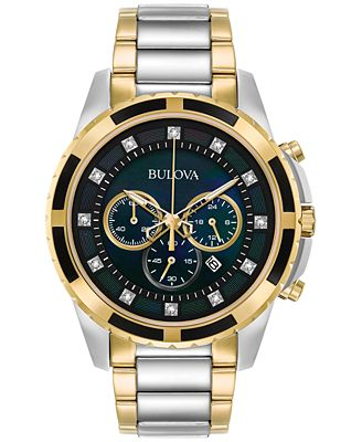 Bulova Men's Chronograph Diamond Accent Two-Tone Stainless Steel Bracelet Watch 44mm 98D132, A Macy's Exclusive Style