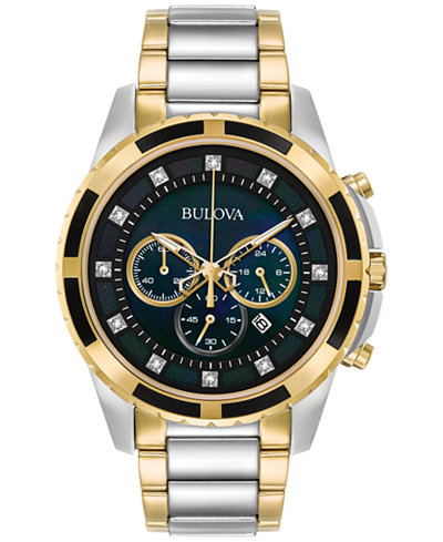 Bulova Men's Chronograph Diamond Accent Two-Tone Stainless Steel Bracelet Watch 44mm 98D132, Created for Macy's