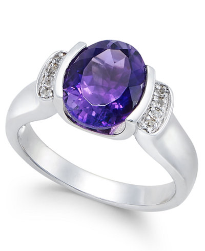 Amethyst (2-1/4 ct. t.w.) and Diamond Accent Ring in Sterling Silver