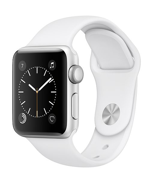 Apple Watch Series 2 38mm Silver-Tone Aluminum Case with White Sport Band