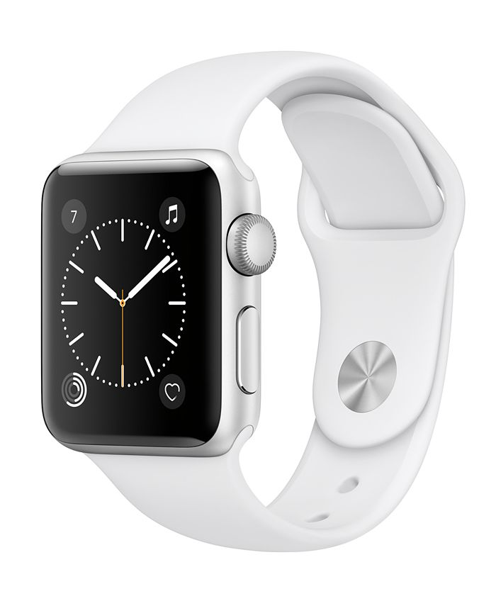Apple Watch Series 2 - , 38mm Silver Aluminum Case with White Sport Band