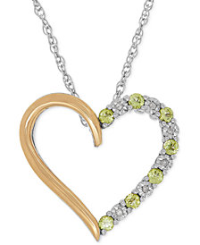Peridot (1/3 ct. t.w.) and Diamond Accent Heart Pendant Necklace in Sterling Silver and 14k Gold