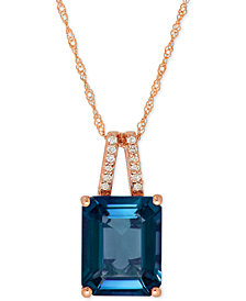 London Blue Topaz (4 ct. t.w.) and Diamond Accent Pendant Necklace in 14k Rose Gold