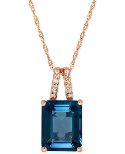 Bronzarte London Blue Topaz (4 ct. t.w.) and Diamond Accent Pendant Necklace in 14k Rose Gold (Also Available in Amethyst)