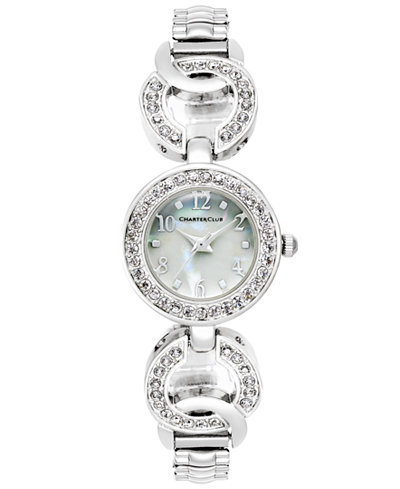 Charter Club Women's Silver-Tone Pavé Link Bracelet Watch 23mm, Only at Macy's