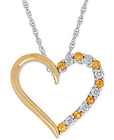 Citrine (1/4 ct. t.w.) and Diamond Accent Heart Pendant Necklace in Sterling Silver and 14k Gold