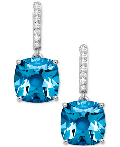 Blue Topaz (5-1/2 ct. t.w.) and Diamond Accent Drop Earrings in 14k White Gold