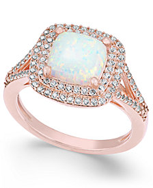 Lab-Created Opal (1-3/8 ct. t.w.) and White Sapphire (1/2 ct. t.w.) Ring in 14k Rose Gold-Plated Sterling Silver