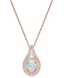 Lab-Created Opal (1 ct. t.w.) and White Sapphire (3/4 ct. t.w.) Pendant Necklace in 14k Rose Gold-Plated Sterling Silver